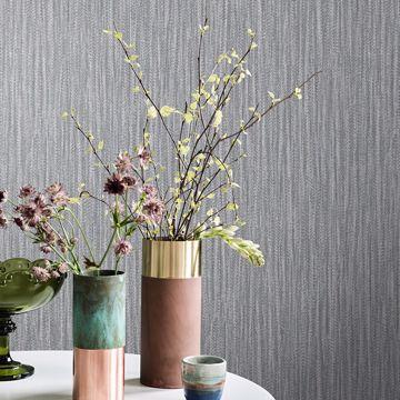 Picture of Raffia Charcoal Faux Grasscloth Wallpaper
