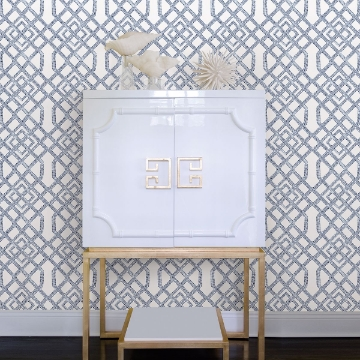 Picture of Traverse Blue Trellis Wallpaper