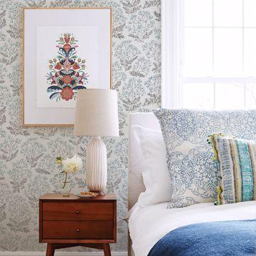 Picture of Floret Blue Floral Wallpaper