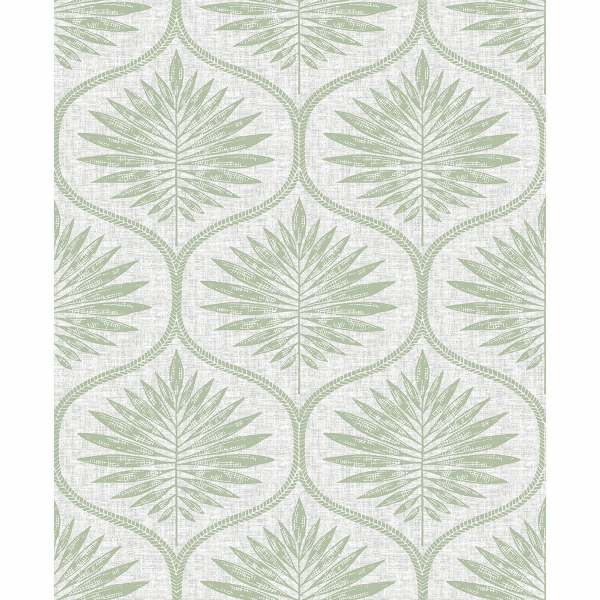 Picture of Laurel Light Green Ogee Wallpaper