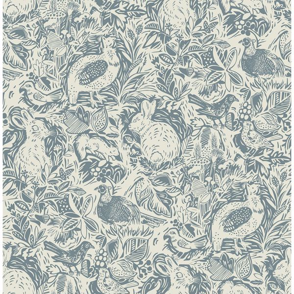 Picture of Revival Blue Fauna Wallpaper