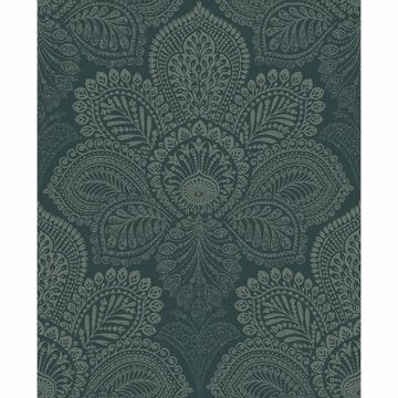 Picture of Triumph Dark Green Medallion Wallpaper