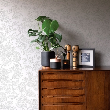 Picture of Larkin Grey Floral Wallpaper