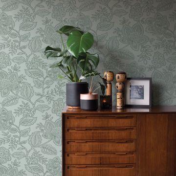 Picture of Larkin Green Floral Wallpaper