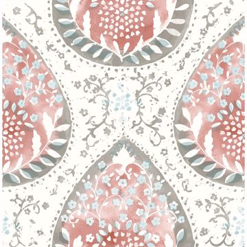 Picture of Alistair Red Medallion Wallpaper