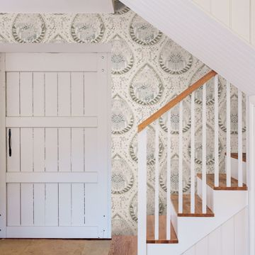 Picture of Alistair Grey Medallion Wallpaper