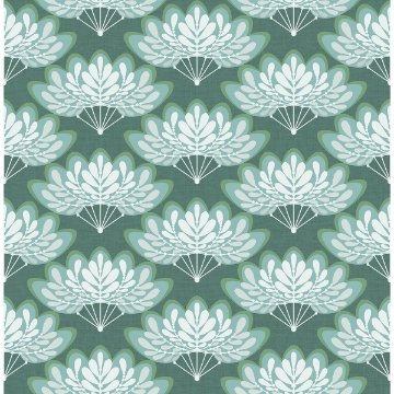 Picture of Lotus Green Floral Fans Wallpaper
