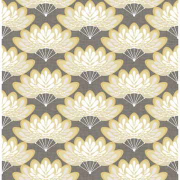 Picture of Lotus Mustard Floral Fans Wallpaper