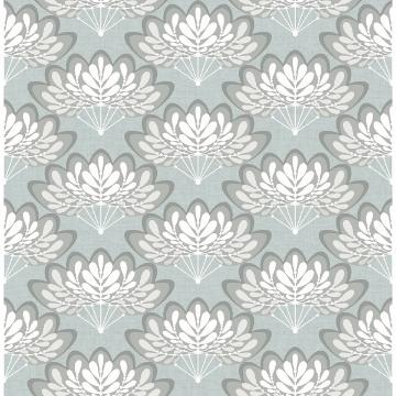 Picture of Lotus Light Blue Floral Fans Wallpaper