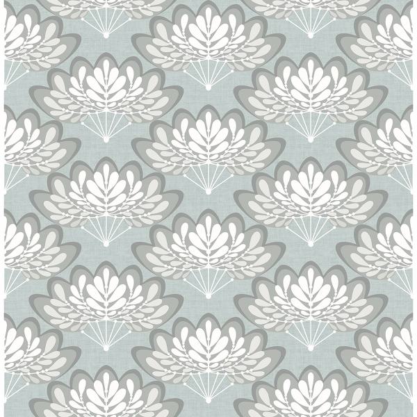 Picture of Lotus Light Blue Floral Fans Wallpaper