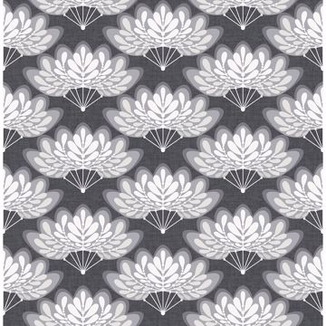 Picture of Lotus Charcoal Floral Fans Wallpaper