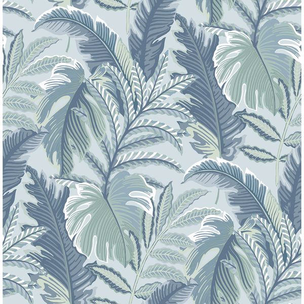 Picture of Verdant Blue Botanical Wallpaper