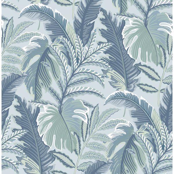 Picture of Verdant Blue Botanical Wallpaper