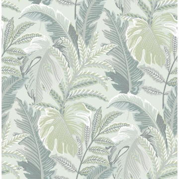 Picture of Verdant Grey Botanical Wallpaper