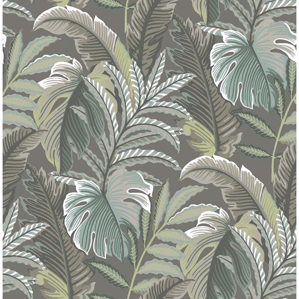 Picture of Verdant Dark Grey Botanical Wallpaper