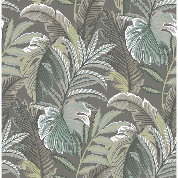 Picture of Verdant Dark Grey Botanical Wallpaper
