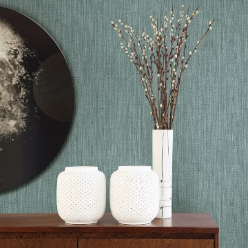 Picture of Chiniile Teal Linen Texture Wallpaper
