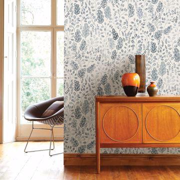Picture of Isha Blue Leaf Wallpaper