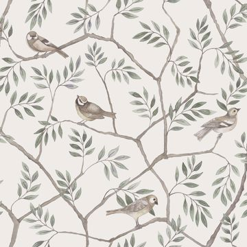 Picture of Crossbill Off-White Branches Wallpaper