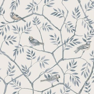 Picture of Crossbill Light Blue Branches Wallpaper