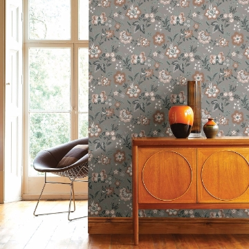 Picture of Athena Grey Floral Wallpaper