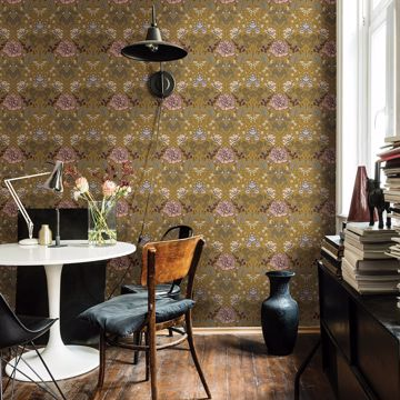 Picture of Celestine Mustard Floral Wallpaper