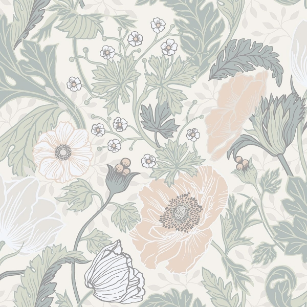 Picture of Anemone Light Grey Floral Wallpaper