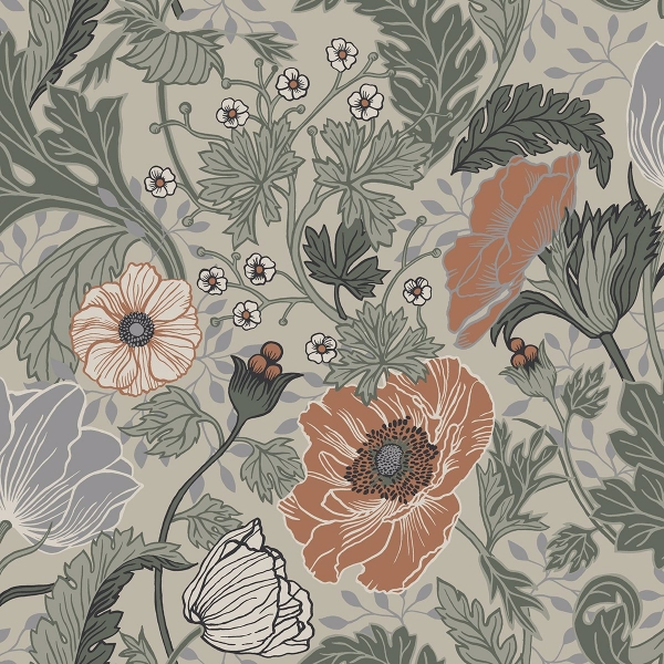 Picture of Anemone Grey Floral Wallpaper