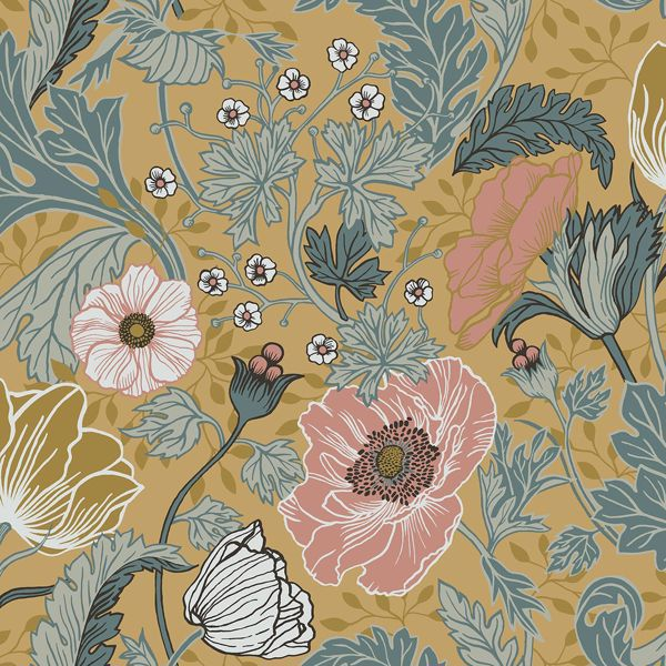 To Wallpaper S: Anemone Mustard Floral Wallpaper