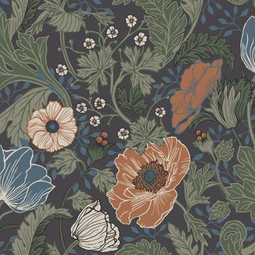Picture of Anemone Multicolor Floral Wallpaper