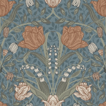 Picture of Tulipa Blue Floral Wallpaper