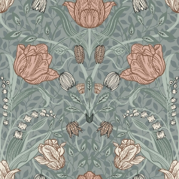 Picture of Tulipa Sage Floral Wallpaper