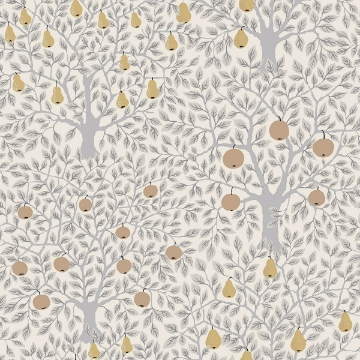 Picture of Pomona Light Grey Fruit Tree Wallpaper