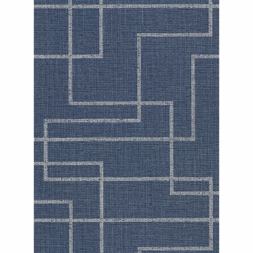 Picture of Clarendon Indigo Geometric Faux Grasscloth Wallpaper