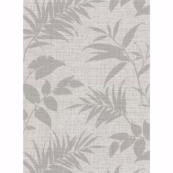 Picture of Chandler Light Grey Botanical Faux Grasscloth Wallpaper