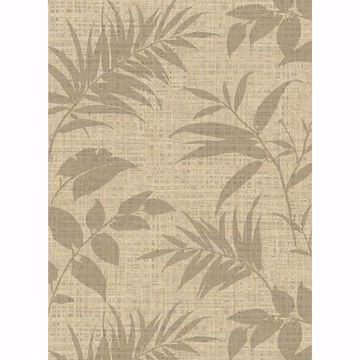 Picture of Chandler Khaki Botanical Faux Grasscloth Wallpaper