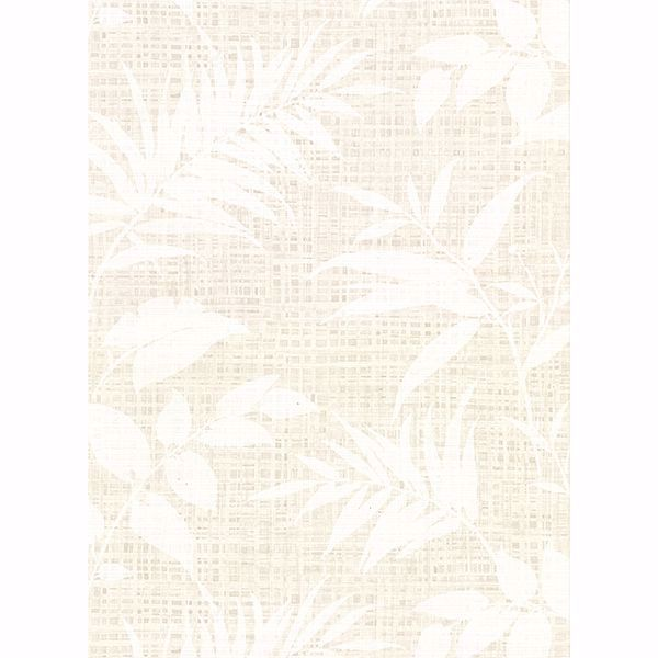 Picture of Chandler White Botanical Faux Grasscloth Wallpaper