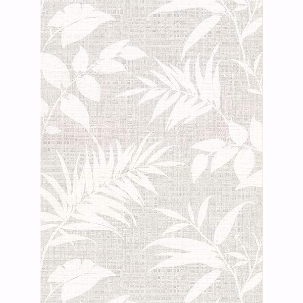 Picture of Chandler Grey Botanical Faux Grasscloth Wallpaper