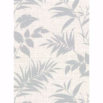 Picture of Chandler Off-White Botanical Faux Grasscloth Wallpaper