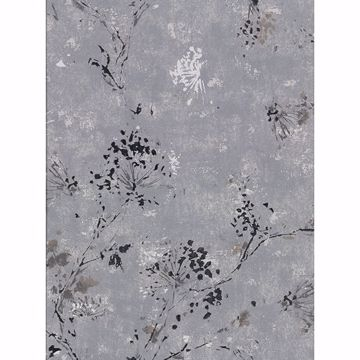 Picture of Misty Charcoal Distressed Dandelion Wallpaper