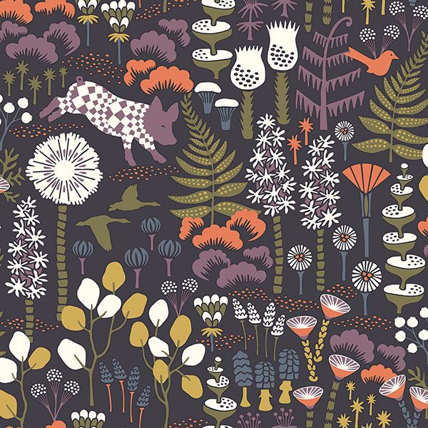 Picture of Hoppet Folk Multicolor Scandinavian Wallpaper
