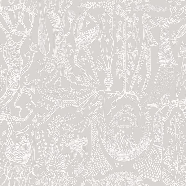 Picture of Poem DAmour Grey Folk Wallpaper