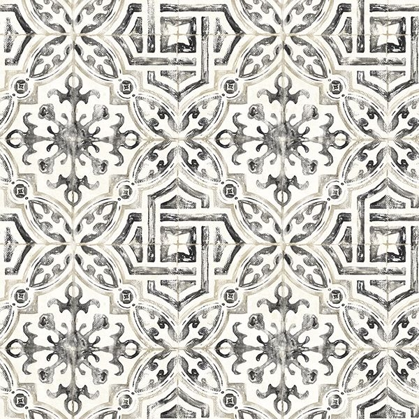 Picture of Sonoma Charcoal Spanish Tile Wallpaper