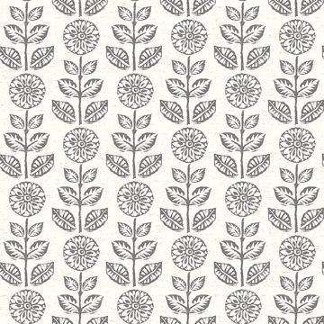 Picture of Dolly Dark Brown Folk Floral Wallpaper