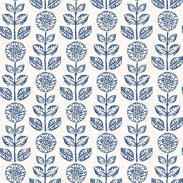 Picture of Dolly Navy Folk Floral Wallpaper