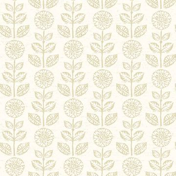 Picture of Dolly Neutral Folk Floral Wallpaper