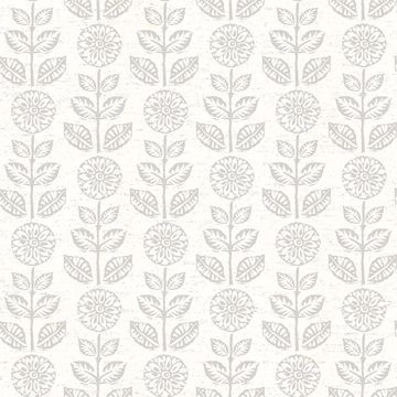 Picture of Dolly Taupe Folk Floral Wallpaper