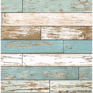 Picture of Juda Blue Scrap Wood Wallpaper