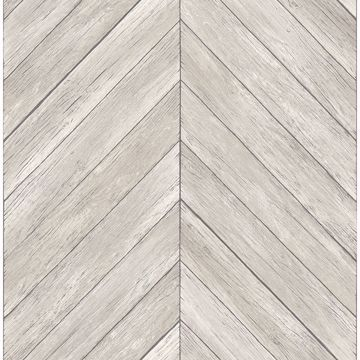 Picture of Parisian Dove Chevron Wood Wallpaper