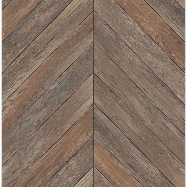 Picture of Parisian Chestnut Chevron Wood Wallpaper